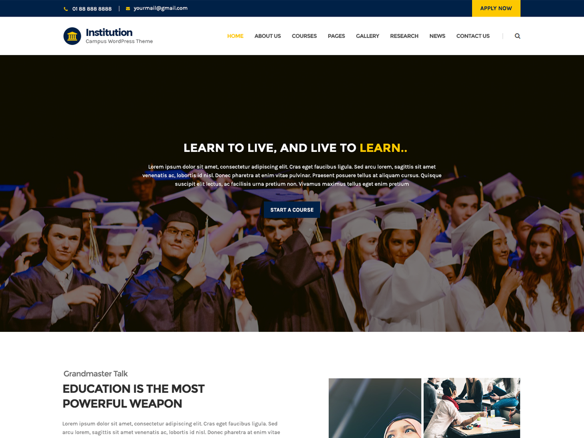 Institution Preview Wordpress Theme - Rating, Reviews, Preview, Demo & Download