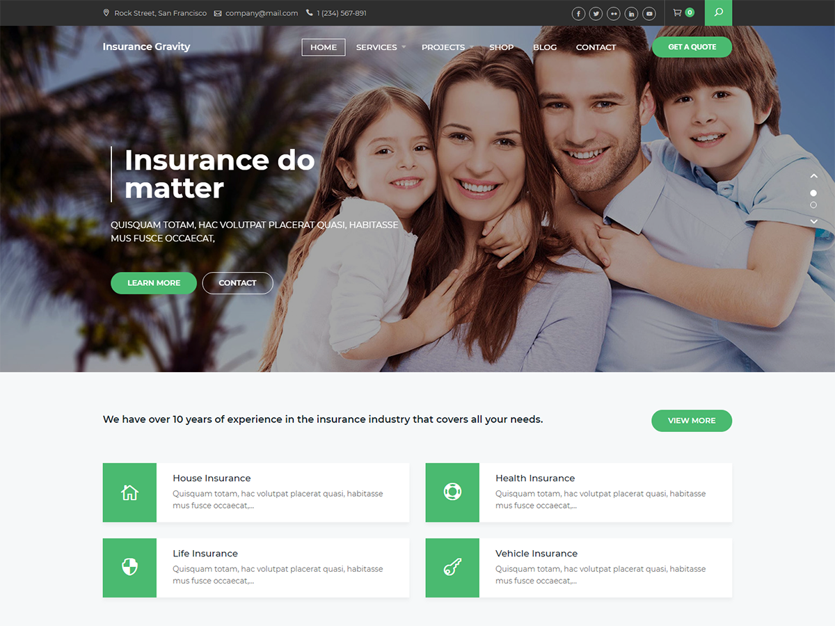Insurance Gravity Preview Wordpress Theme - Rating, Reviews, Preview, Demo & Download