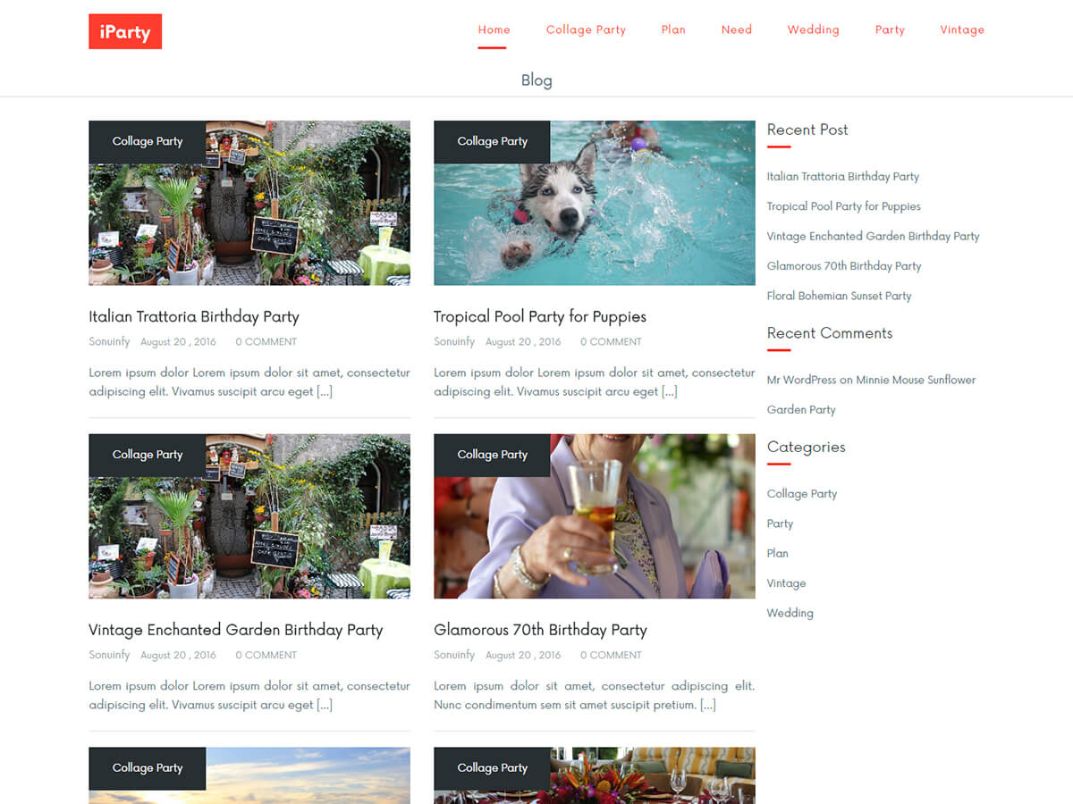 IParty Preview Wordpress Theme - Rating, Reviews, Preview, Demo & Download