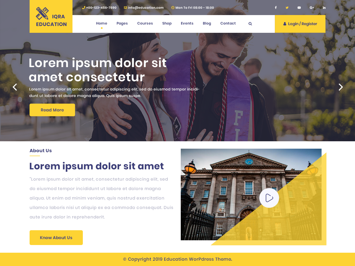 Iqra Education Preview Wordpress Theme - Rating, Reviews, Preview, Demo & Download