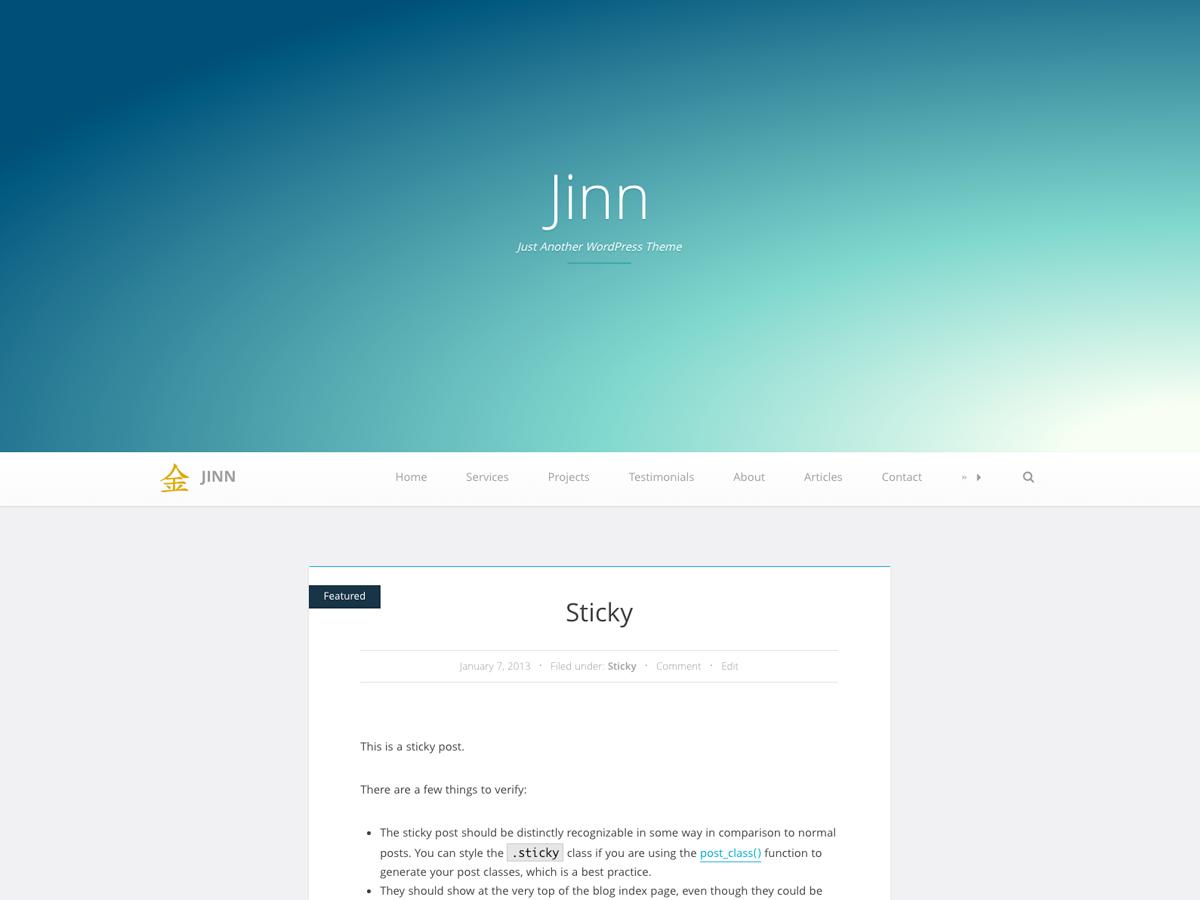 Jinn Preview Wordpress Theme - Rating, Reviews, Preview, Demo & Download