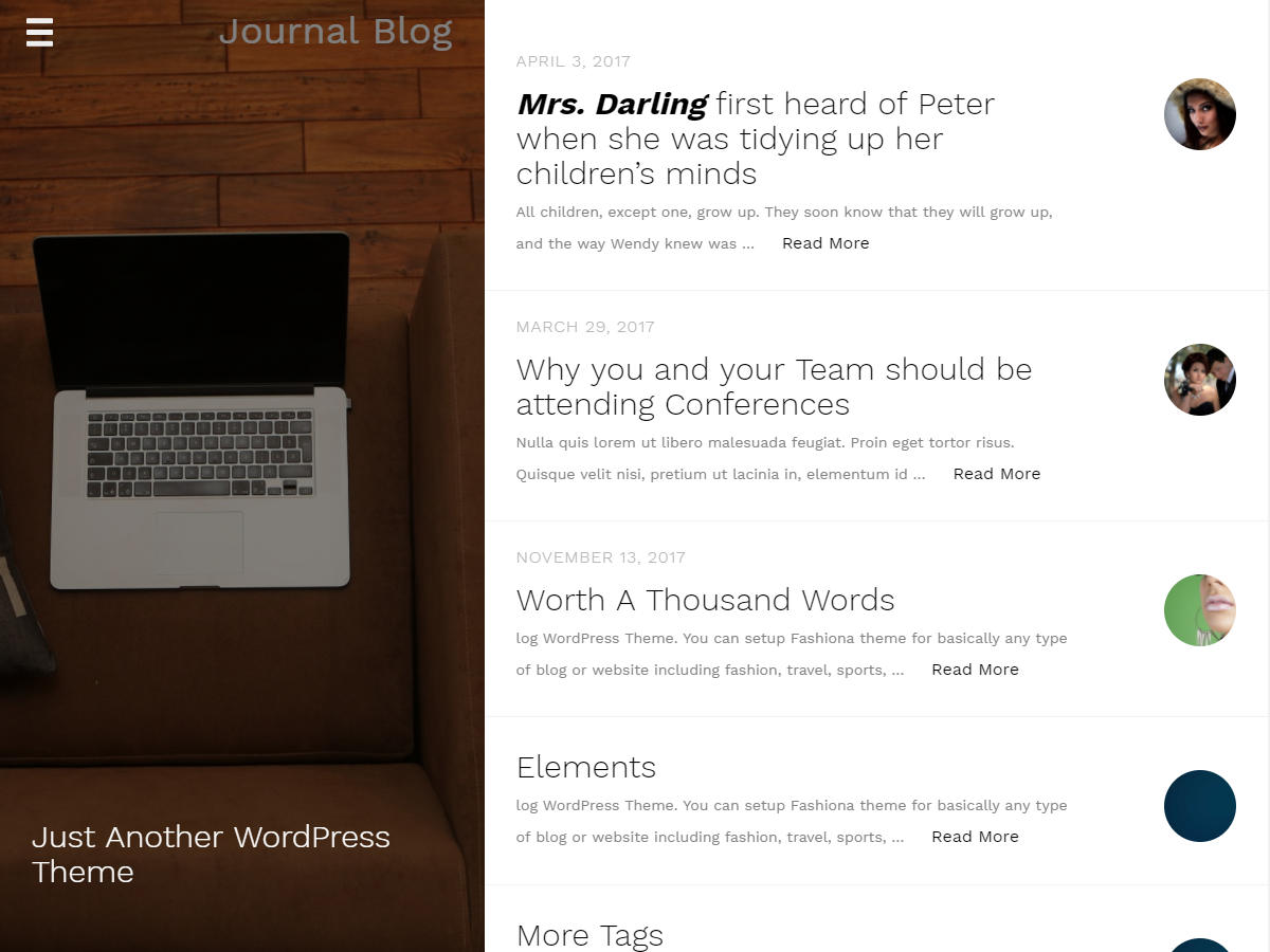 Journal Blog Preview Wordpress Theme - Rating, Reviews, Preview, Demo & Download