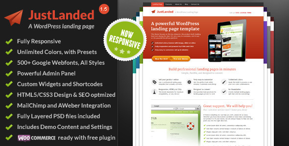 JustLanded Preview Wordpress Theme - Rating, Reviews, Preview, Demo & Download