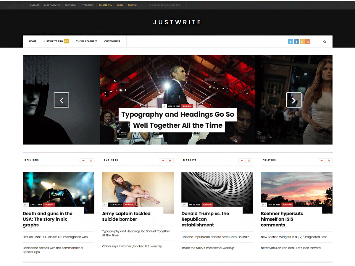 JustWrite WordPress Theme - Rating, Reviews, Preview, Demo &