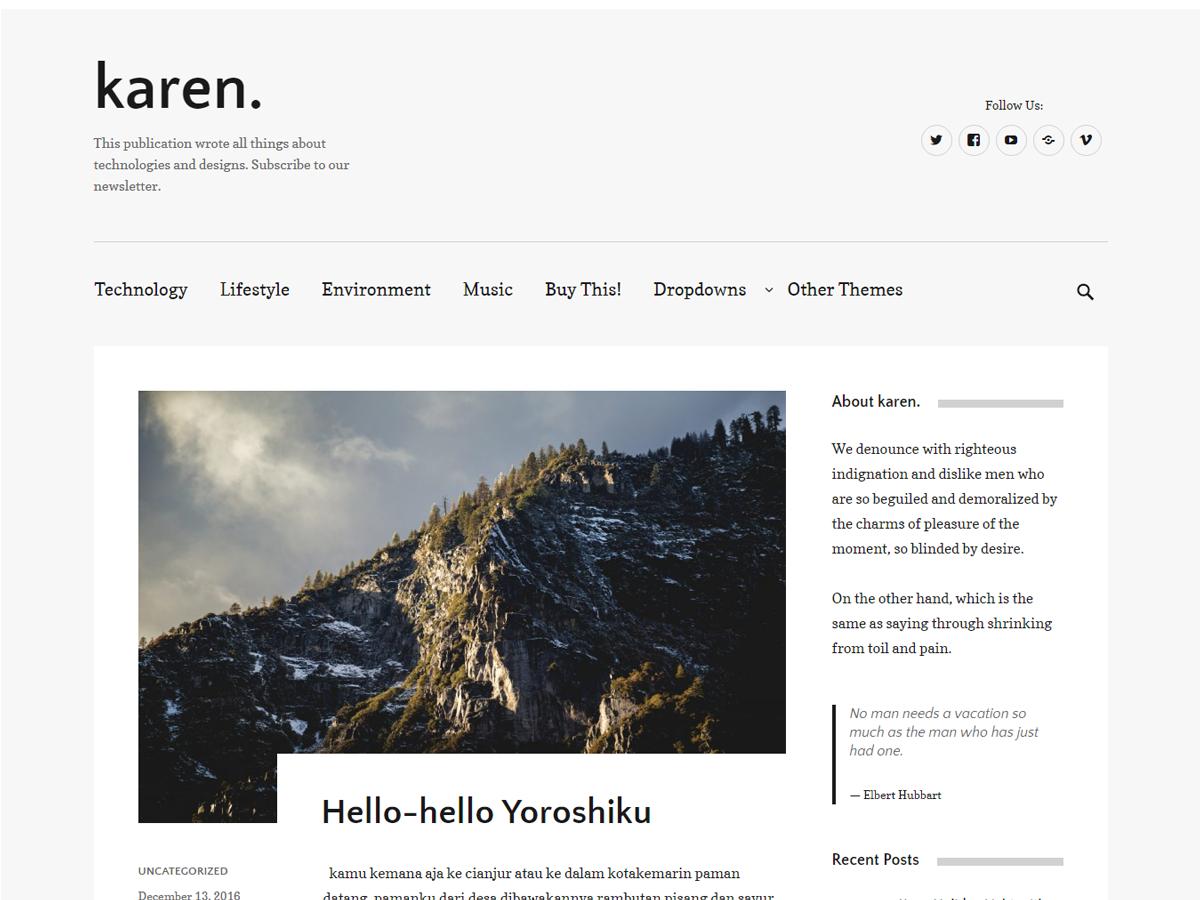 Karen Preview Wordpress Theme - Rating, Reviews, Preview, Demo & Download