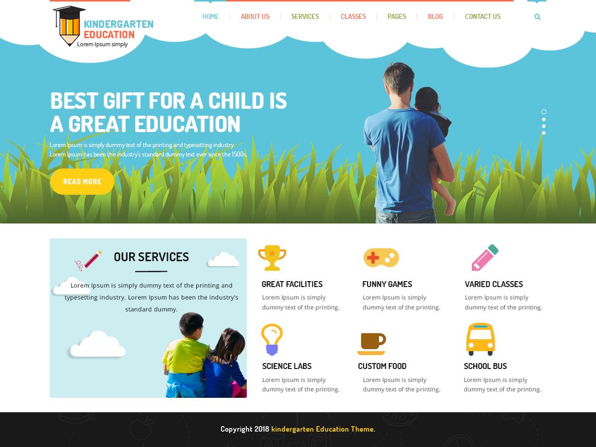Kindergarten Education Preview Wordpress Theme - Rating, Reviews, Preview, Demo & Download
