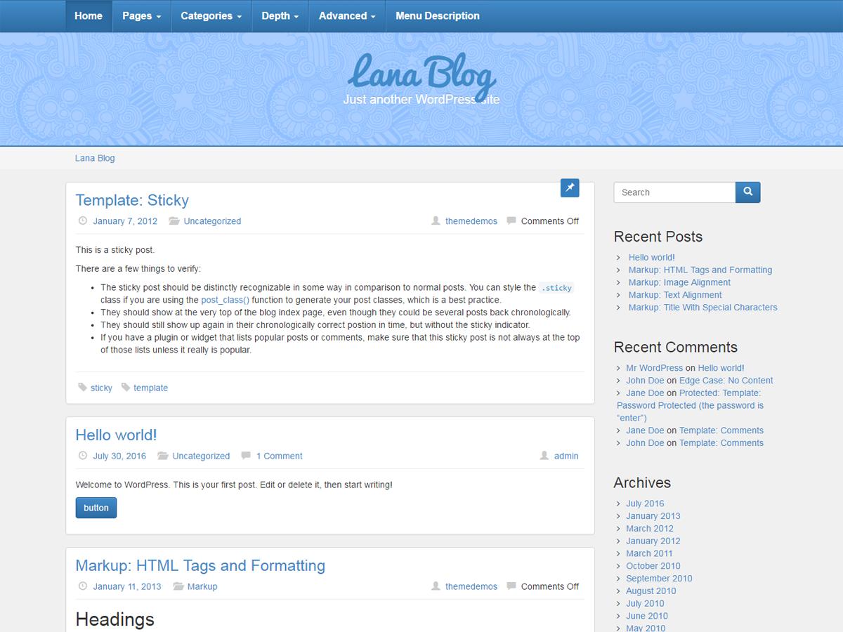 Lana Blog Preview Wordpress Theme - Rating, Reviews, Preview, Demo & Download