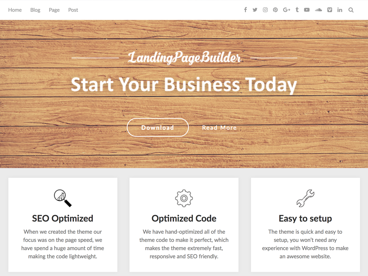 LandingPageBuilder Preview Wordpress Theme - Rating, Reviews, Preview, Demo & Download