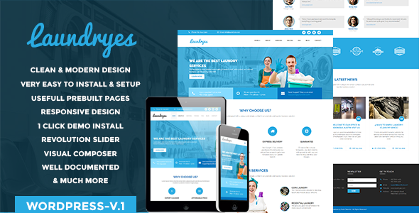 Laundry Business Preview Wordpress Theme - Rating, Reviews, Preview, Demo & Download