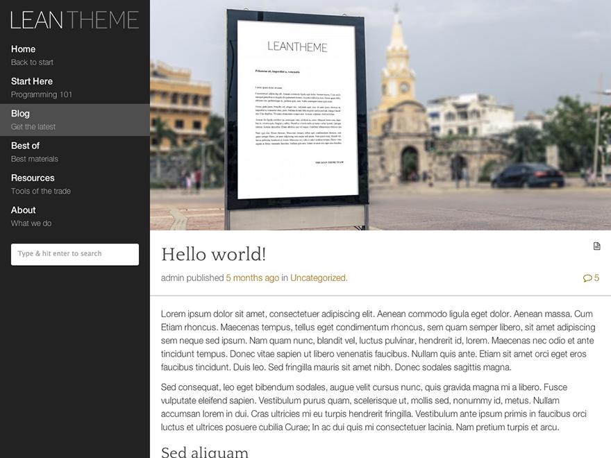 Lean Preview Wordpress Theme - Rating, Reviews, Preview, Demo & Download