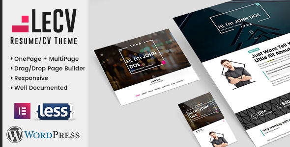 LeCV Preview Wordpress Theme - Rating, Reviews, Preview, Demo & Download