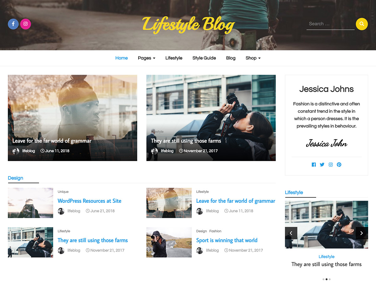 Lifestyle Blog Preview Wordpress Theme - Rating, Reviews, Preview, Demo & Download