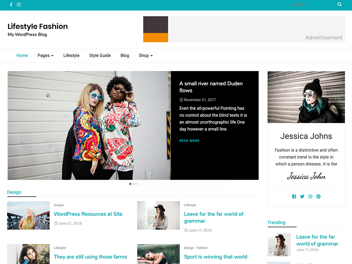 Lifestyle Fashion Preview Wordpress Theme - Rating, Reviews, Preview, Demo & Download