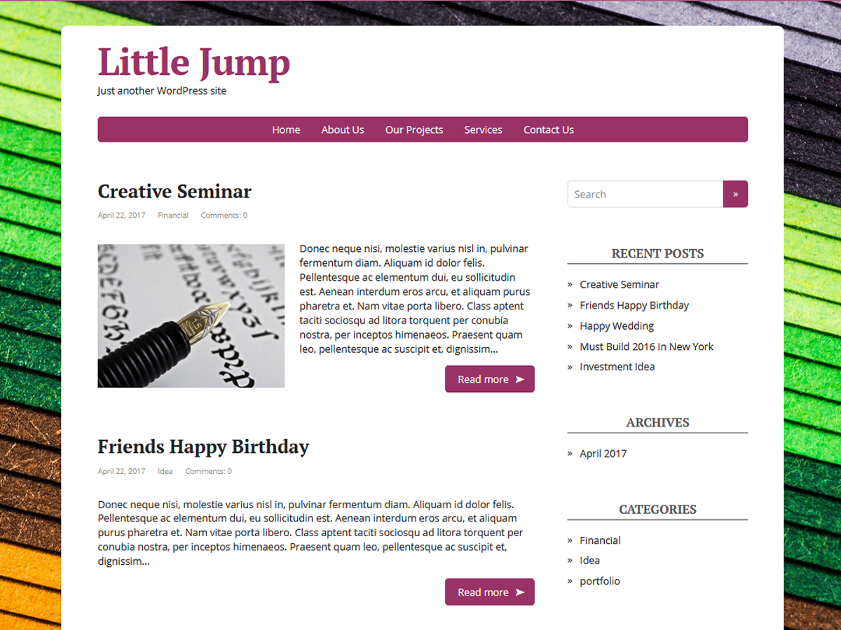 Little Jump Preview Wordpress Theme - Rating, Reviews, Preview, Demo & Download