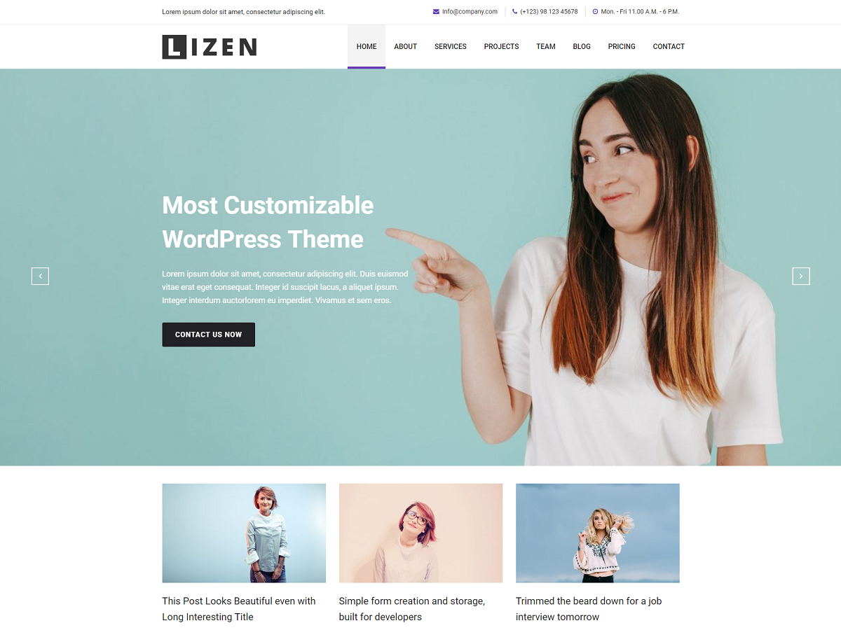 Lizen Preview Wordpress Theme - Rating, Reviews, Preview, Demo & Download