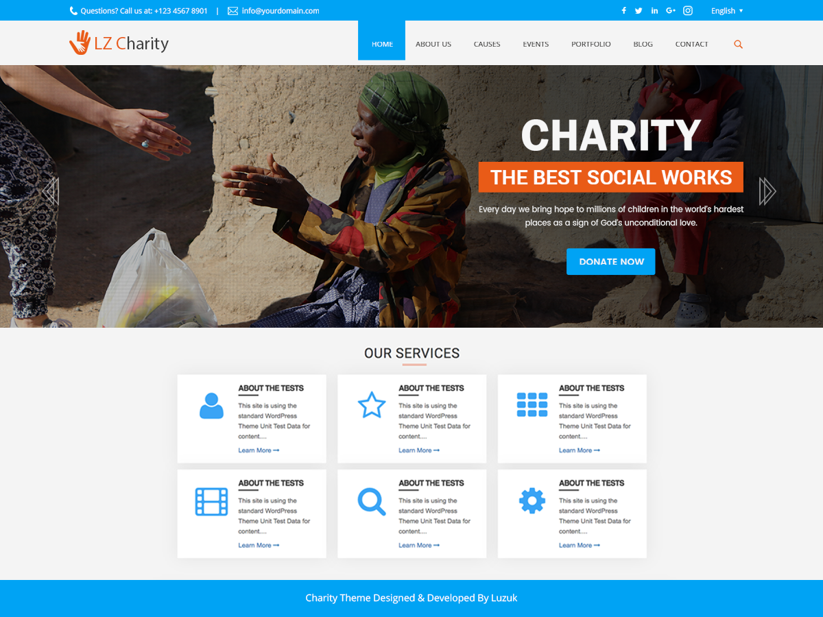 LZ Charity Preview Wordpress Theme - Rating, Reviews, Preview, Demo & Download