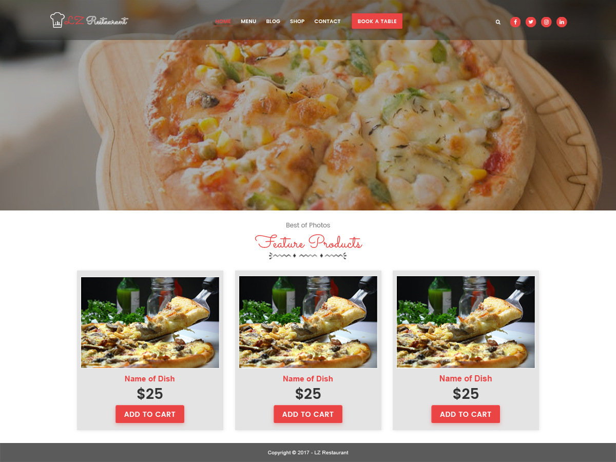 Lzrestaurant Preview Wordpress Theme - Rating, Reviews, Preview, Demo & Download
