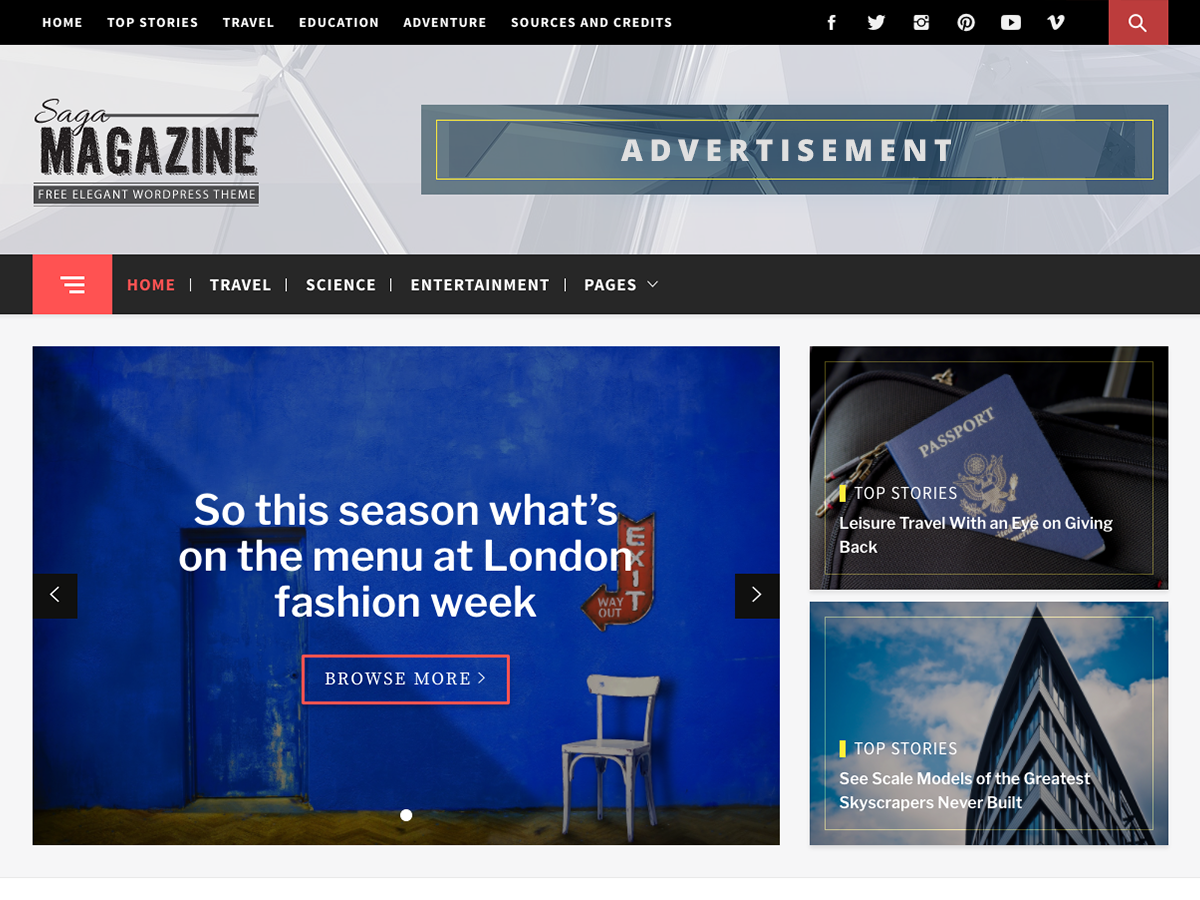Magazine Saga Preview Wordpress Theme - Rating, Reviews, Preview, Demo & Download