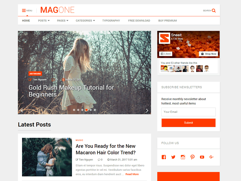 MagOne Lite Preview Wordpress Theme - Rating, Reviews, Preview, Demo & Download