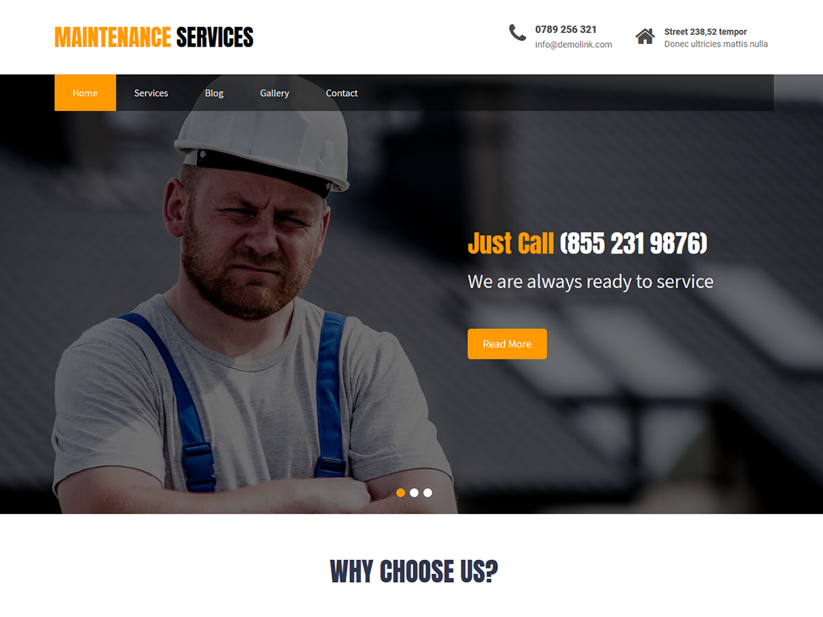 Maintenance Services Preview Wordpress Theme - Rating, Reviews, Preview, Demo & Download