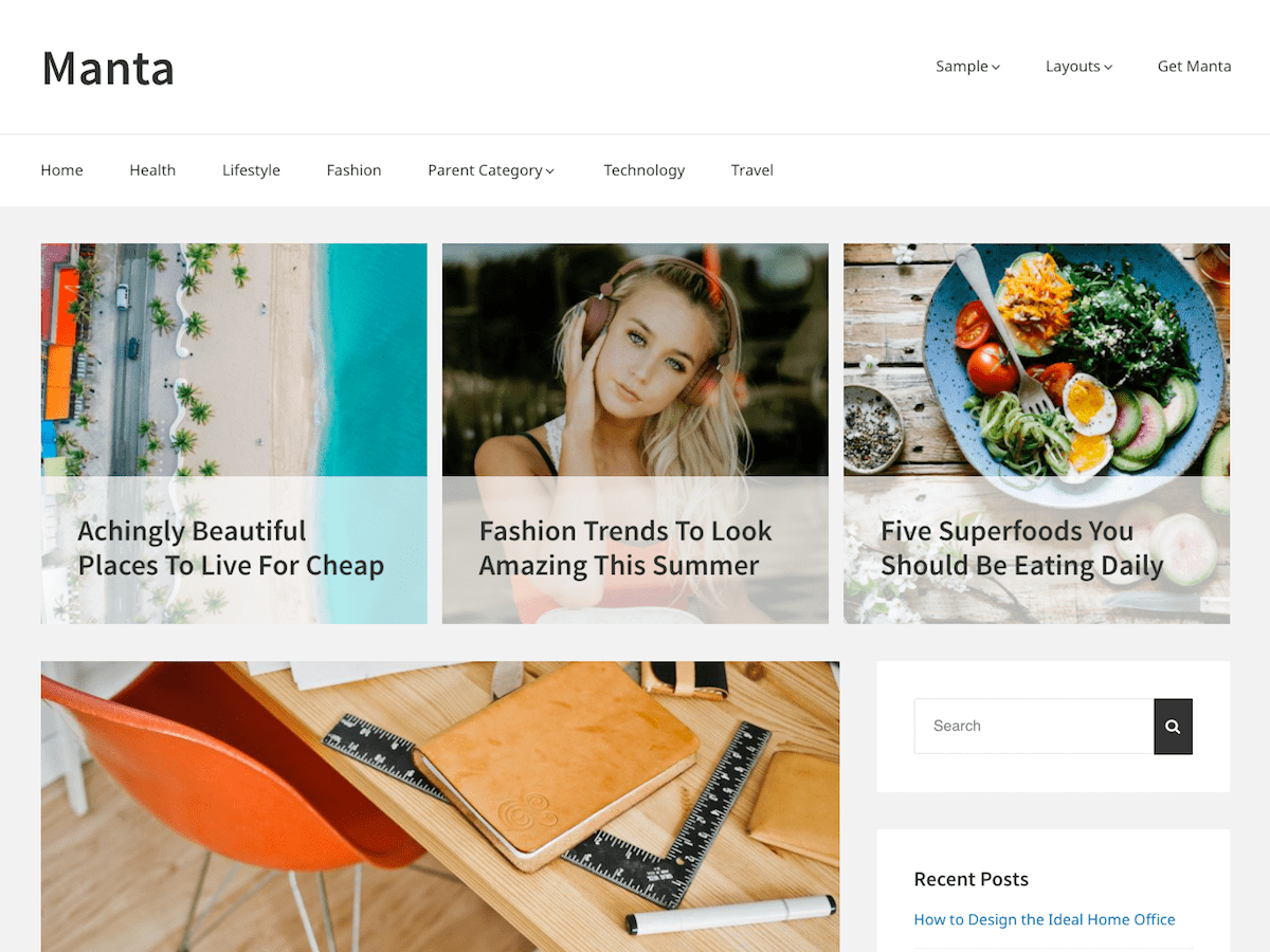 Manta Preview Wordpress Theme - Rating, Reviews, Preview, Demo & Download