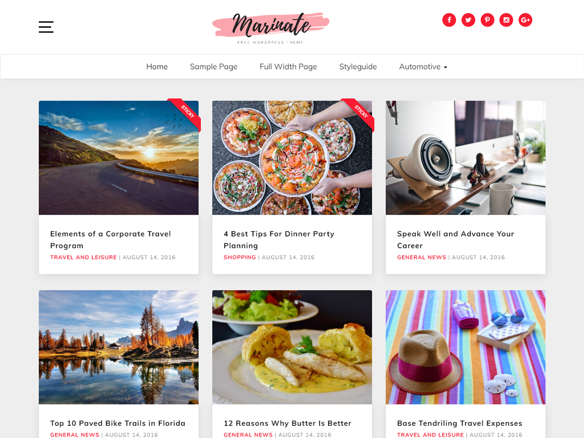 Marinate Preview Wordpress Theme - Rating, Reviews, Preview, Demo & Download