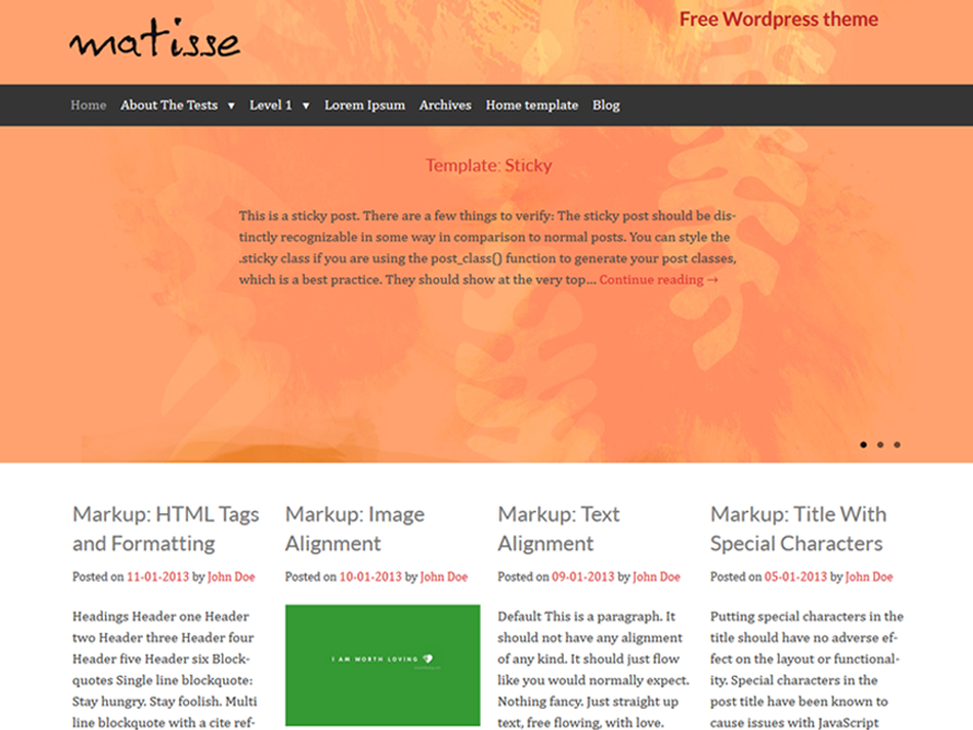 Matisse Preview Wordpress Theme - Rating, Reviews, Preview, Demo & Download