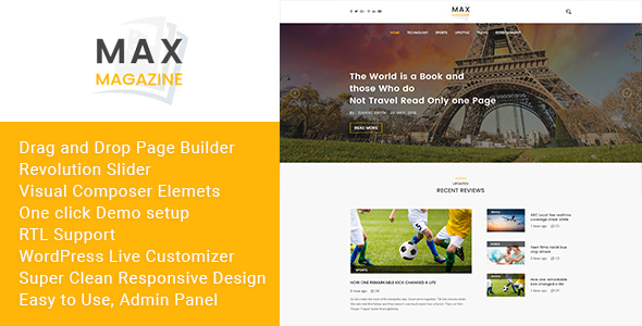 Max Magazine Preview Wordpress Theme - Rating, Reviews, Preview, Demo & Download