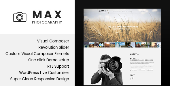 Max Photograpy Preview Wordpress Theme - Rating, Reviews, Preview, Demo & Download
