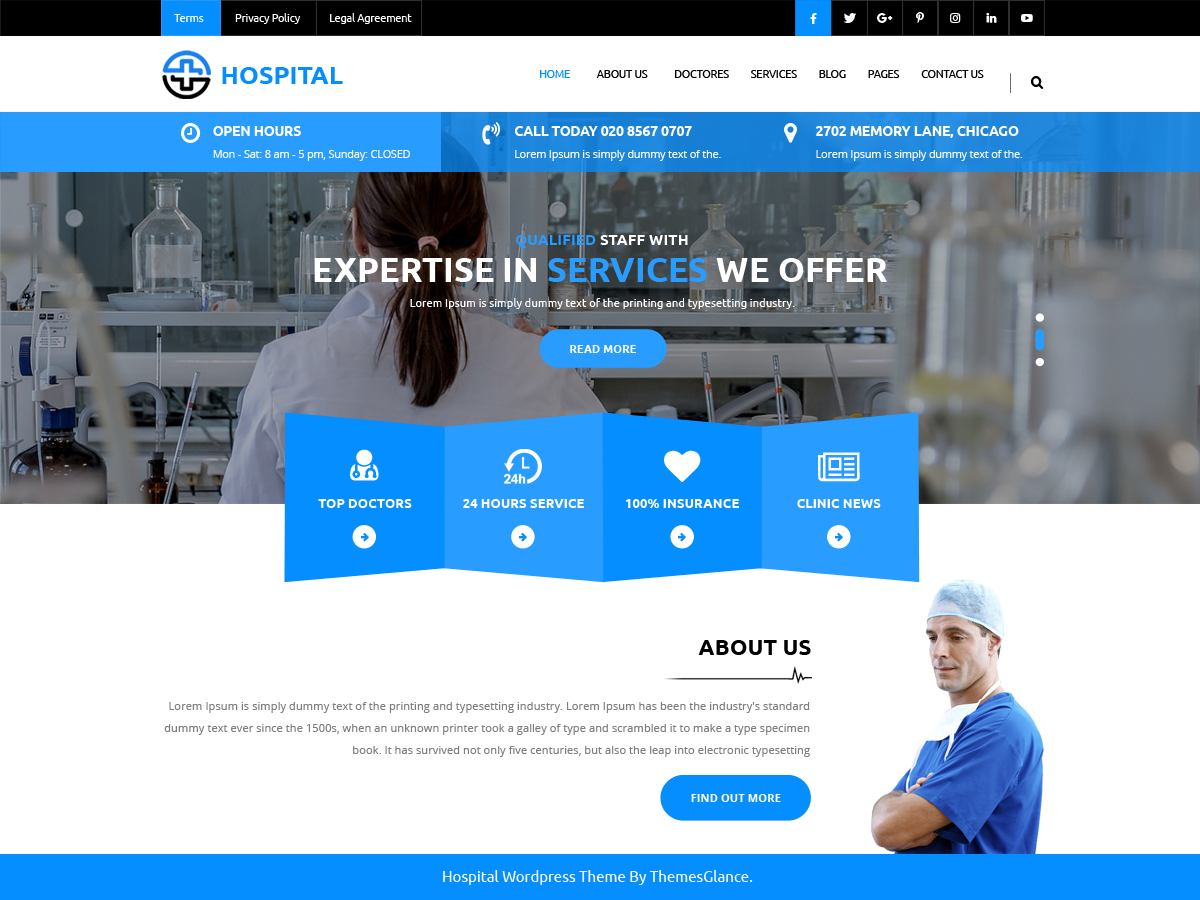 Medical Hospital Preview Wordpress Theme - Rating, Reviews, Preview, Demo & Download