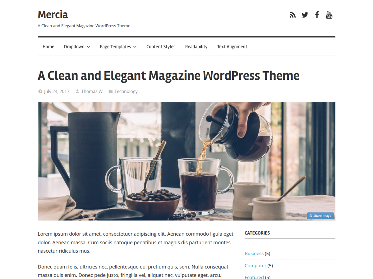Mercia Preview Wordpress Theme - Rating, Reviews, Preview, Demo & Download