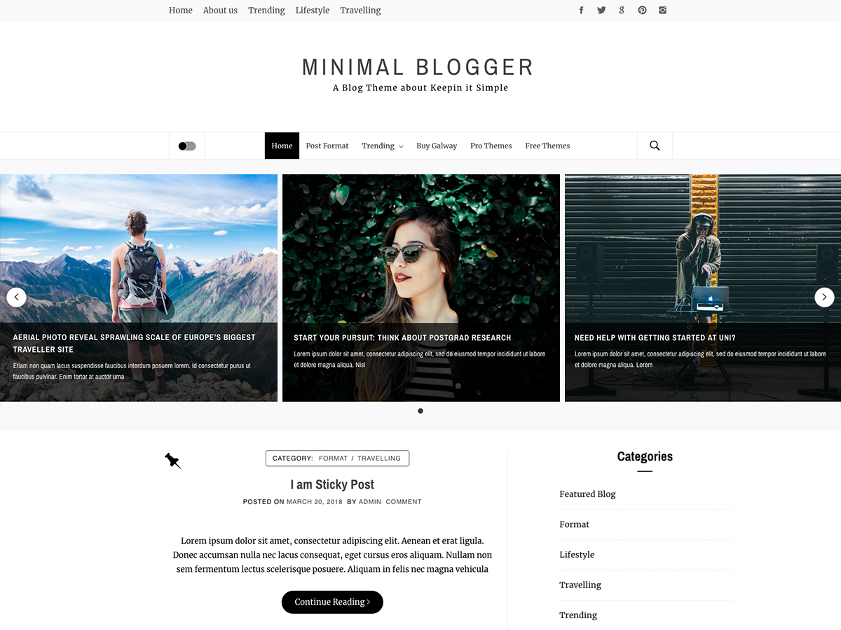 Minimal Blogger Preview Wordpress Theme - Rating, Reviews, Preview, Demo & Download