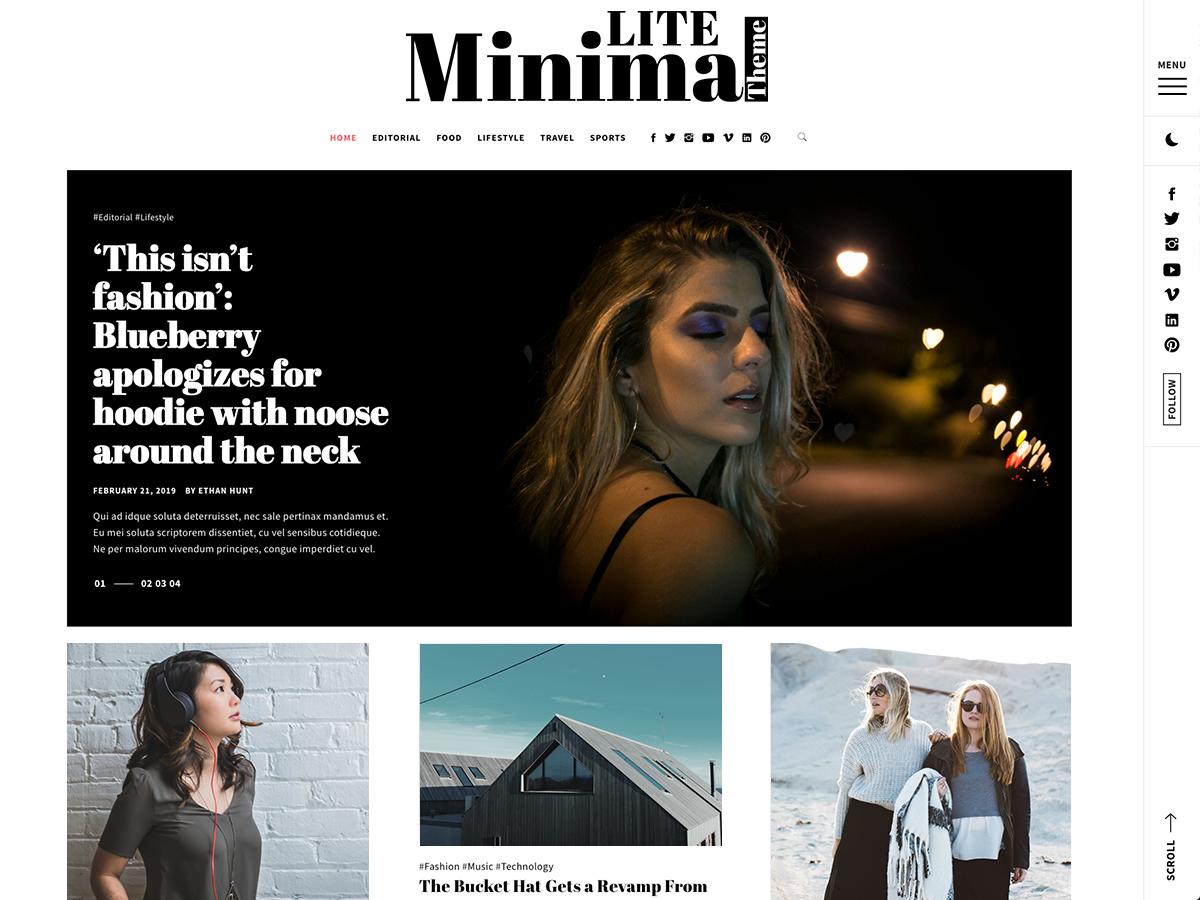 Minimal Lite Preview Wordpress Theme - Rating, Reviews, Preview, Demo & Download