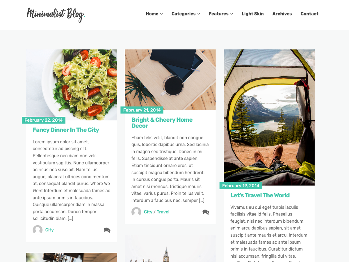 Minimalist Blog Preview Wordpress Theme - Rating, Reviews, Preview, Demo & Download