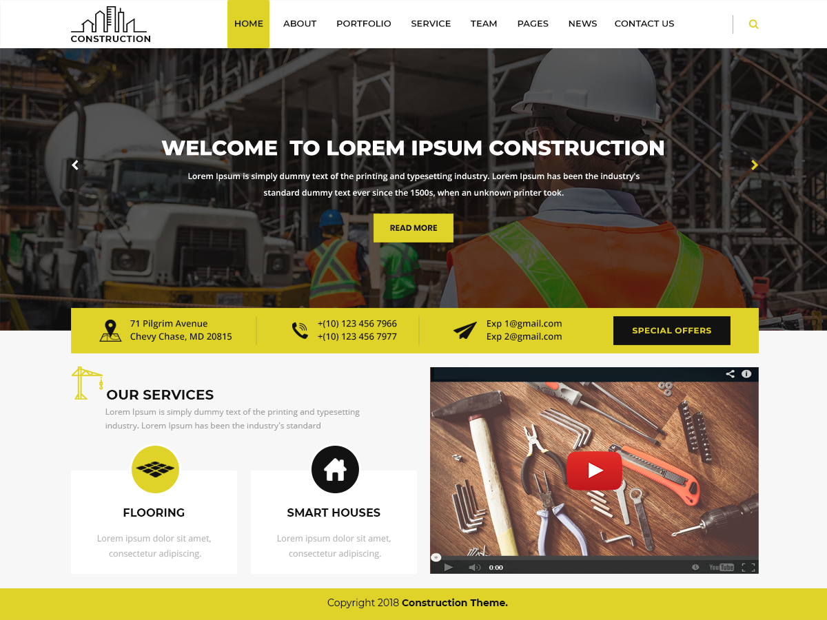 Modern Construction Preview Wordpress Theme - Rating, Reviews, Preview, Demo & Download