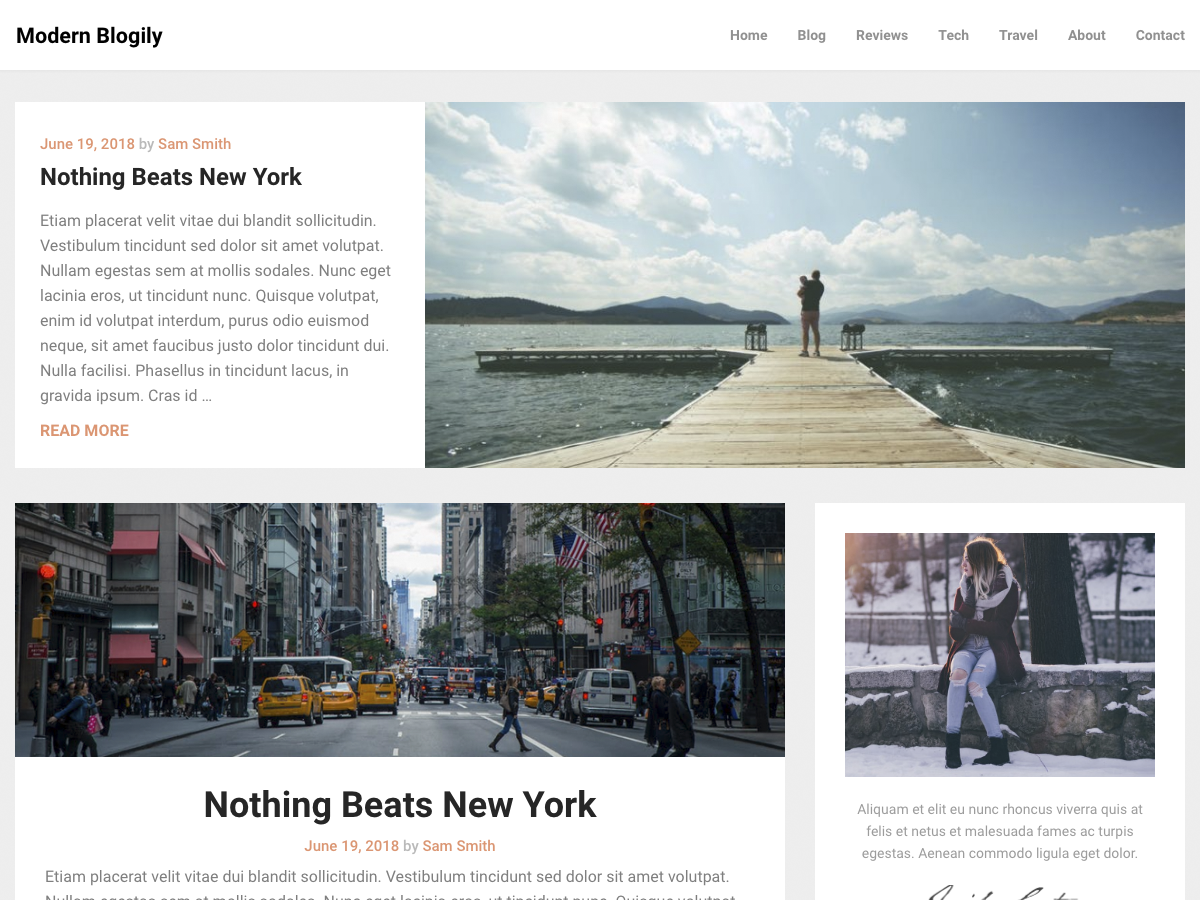 ModernBlogily Preview Wordpress Theme - Rating, Reviews, Preview, Demo & Download