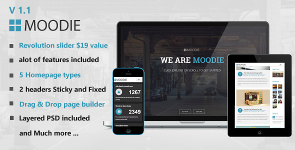 Moodie Multi Preview Wordpress Theme - Rating, Reviews, Preview, Demo & Download