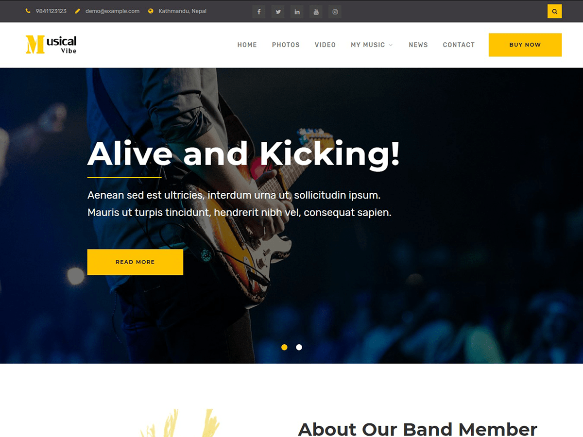 Musical Vibe Preview Wordpress Theme - Rating, Reviews, Preview, Demo & Download