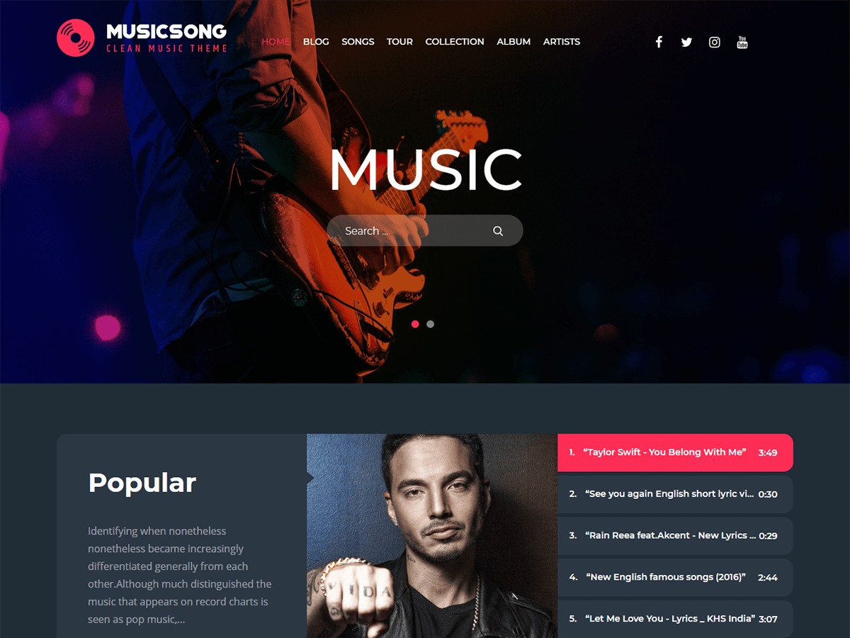 Musicsong Preview Wordpress Theme - Rating, Reviews, Preview, Demo & Download