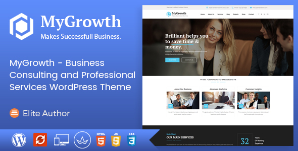 MyGrowth Preview Wordpress Theme - Rating, Reviews, Preview, Demo & Download
