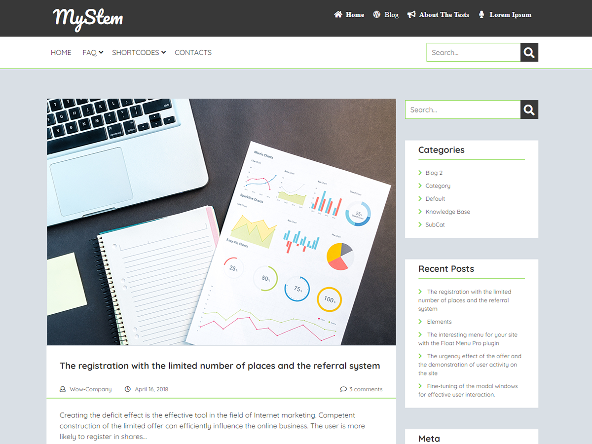 MyStem Preview Wordpress Theme - Rating, Reviews, Preview, Demo & Download