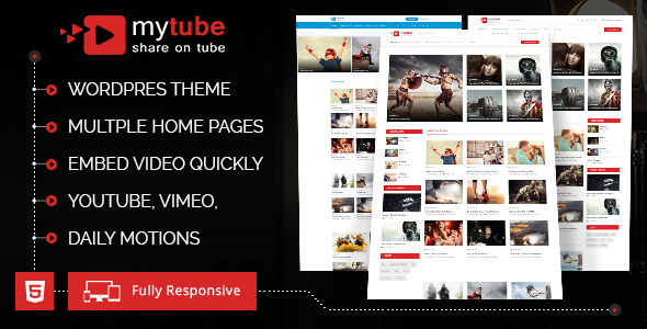 MyTube Preview Wordpress Theme - Rating, Reviews, Preview, Demo & Download