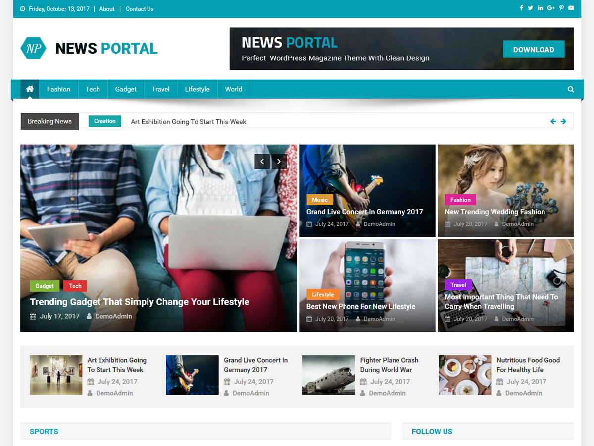 News Portal Preview Wordpress Theme - Rating, Reviews, Preview, Demo & Download