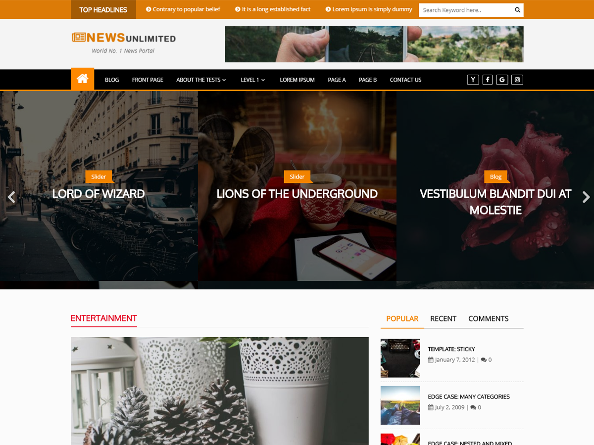 News Unlimited Preview Wordpress Theme - Rating, Reviews, Preview, Demo & Download