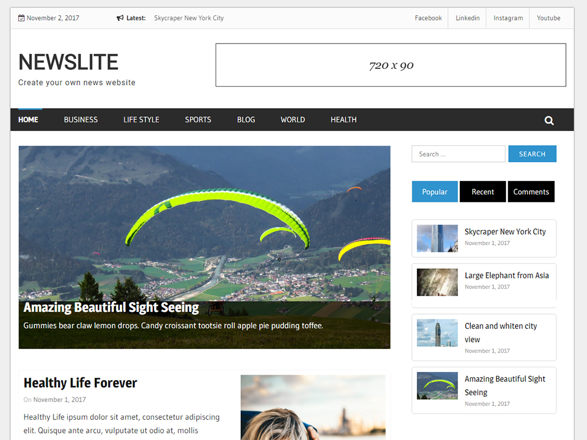 Newslite Preview Wordpress Theme - Rating, Reviews, Preview, Demo & Download