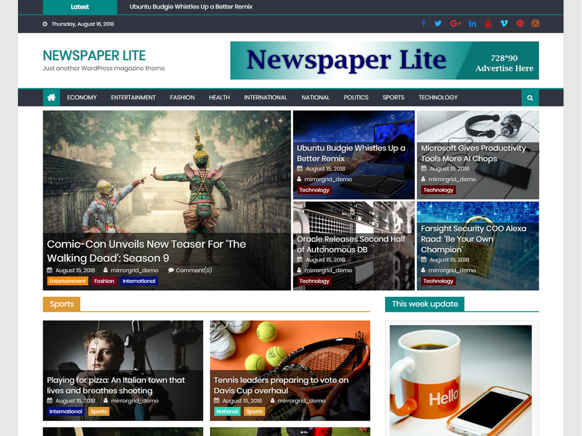 Newspaper Lite Preview Wordpress Theme - Rating, Reviews, Preview, Demo & Download