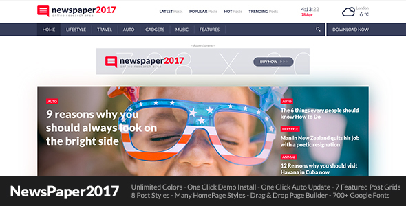 NewsPaper2017 Preview Wordpress Theme - Rating, Reviews, Preview, Demo & Download