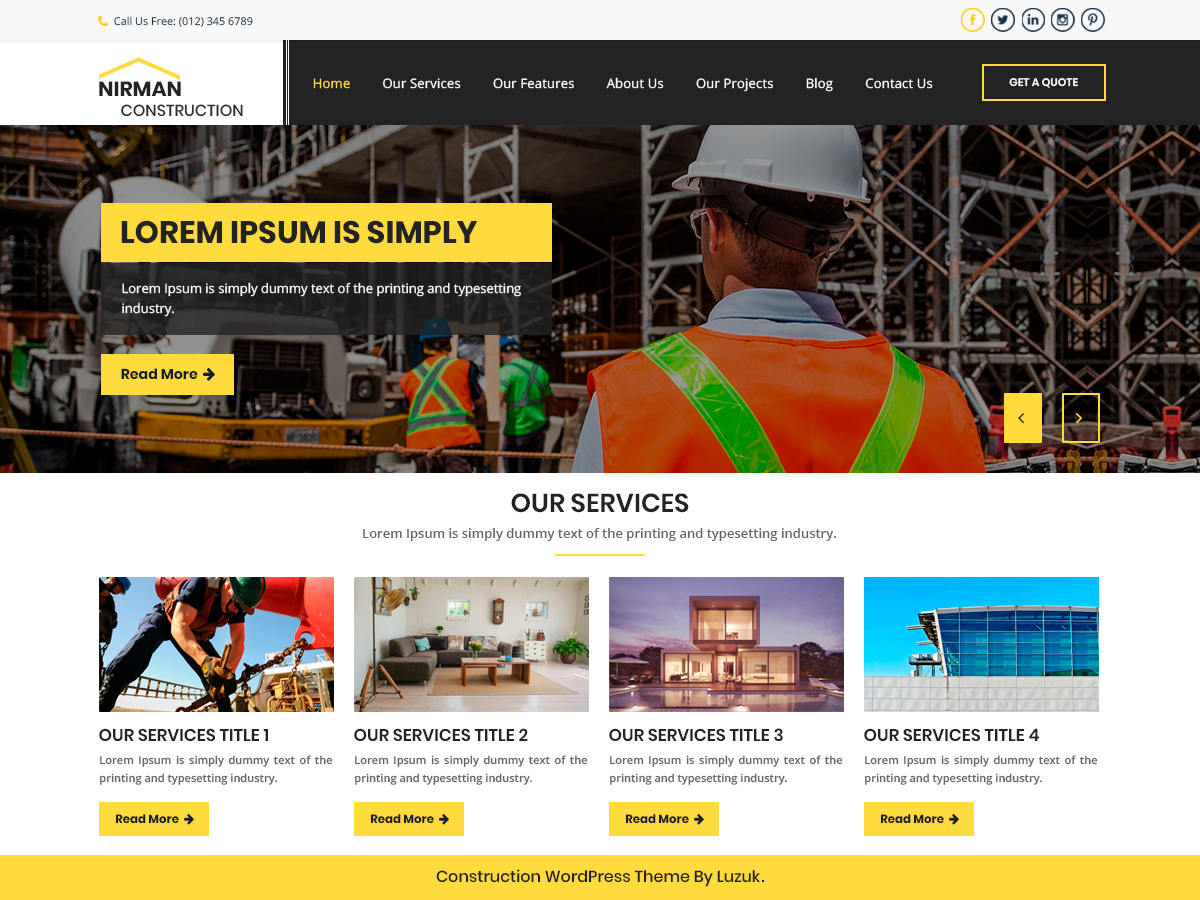 Nirman Construction Preview Wordpress Theme - Rating, Reviews, Preview, Demo & Download