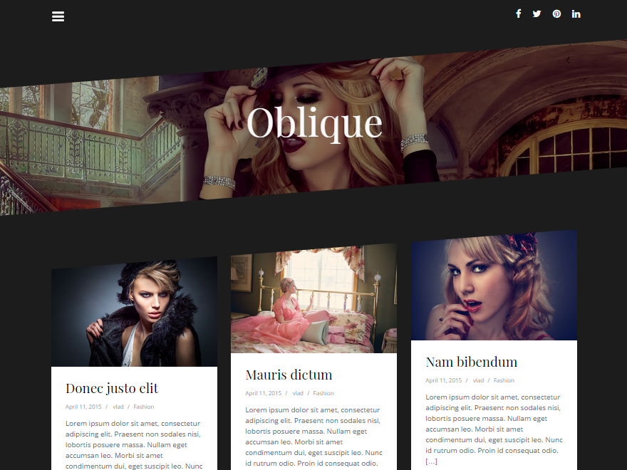 Oblique Preview Wordpress Theme - Rating, Reviews, Preview, Demo & Download