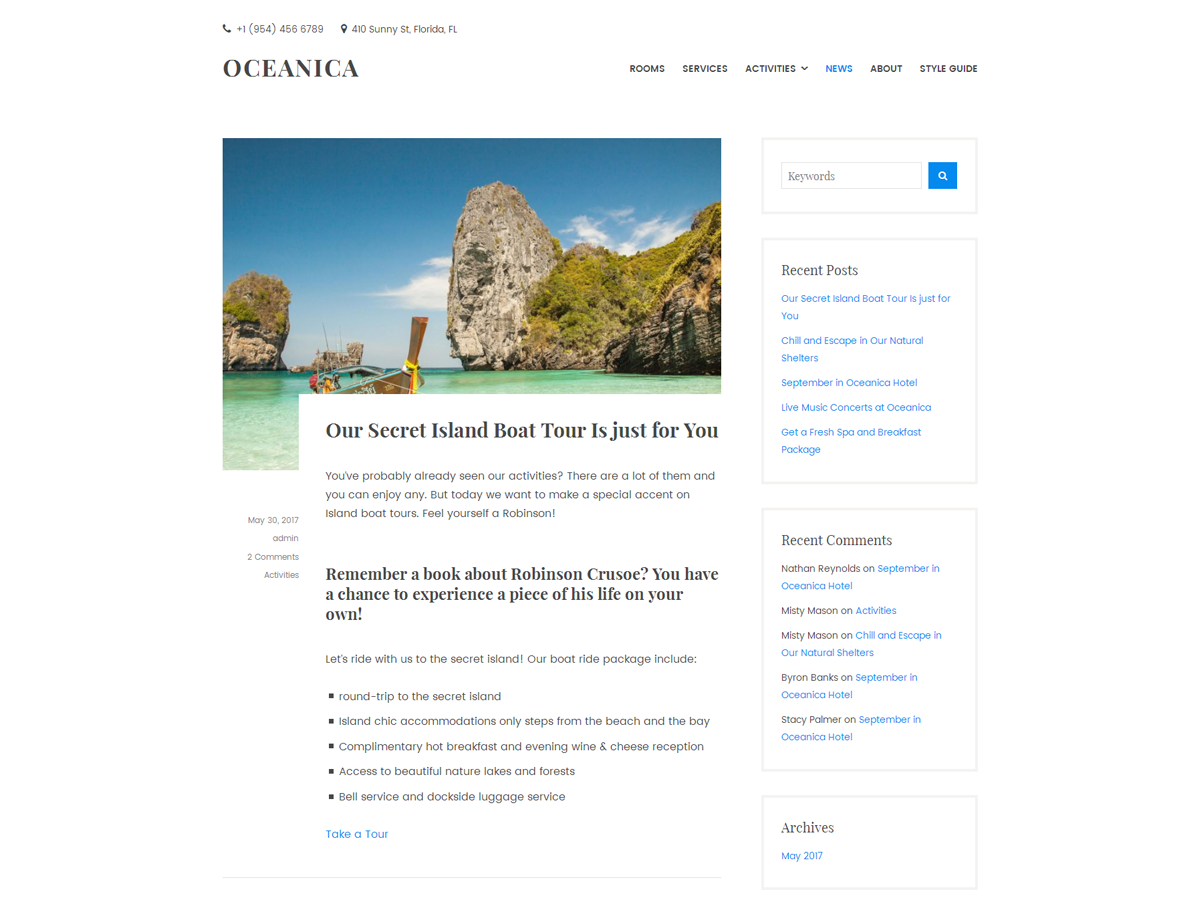 Oceanica Lite Preview Wordpress Theme - Rating, Reviews, Preview, Demo & Download